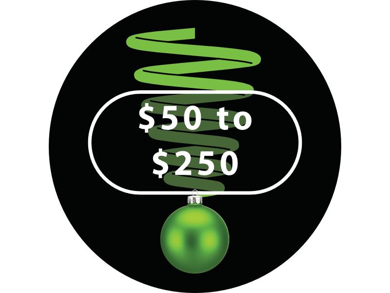 $50 to $250