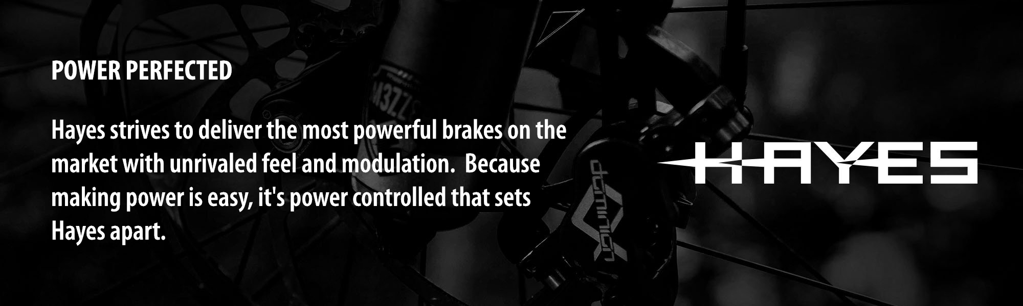 POWER PERFECTED: Hayes strives to deliver the most powerful brakes on the market with unrivaled feel and modulation.  Because making power is easy, it's power controlled that sets Hayes apart.